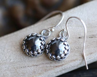 Hematite Earrings, Gray Hematite Earrings, Gallery Bezel set Hematite Cabochon Earrings, Silver Hematite Earrings