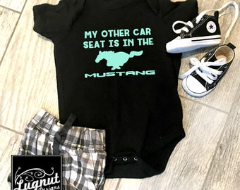 Mustang Car Seat - Baby Bodysuit or Toddler T-Shirt