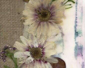 flower art, nature collage, dried flowers art, flower collage, country decor, primitive decor, farmhouse decor
