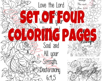 Set of Four Christian Coloring Pages