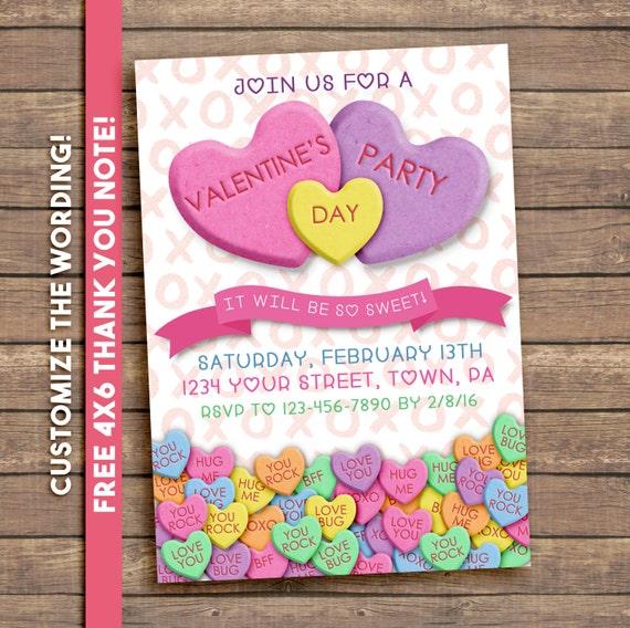 Valentines party invitation conversation hearts digital stopboris Gallery