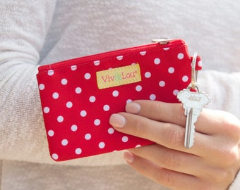 Red Dots ID Case - ID Case with Keychain - Womens Small Case - Dots Id Case - Bridesmaid Gift - Key Ring - Womens Small Tote - Wallet Insert