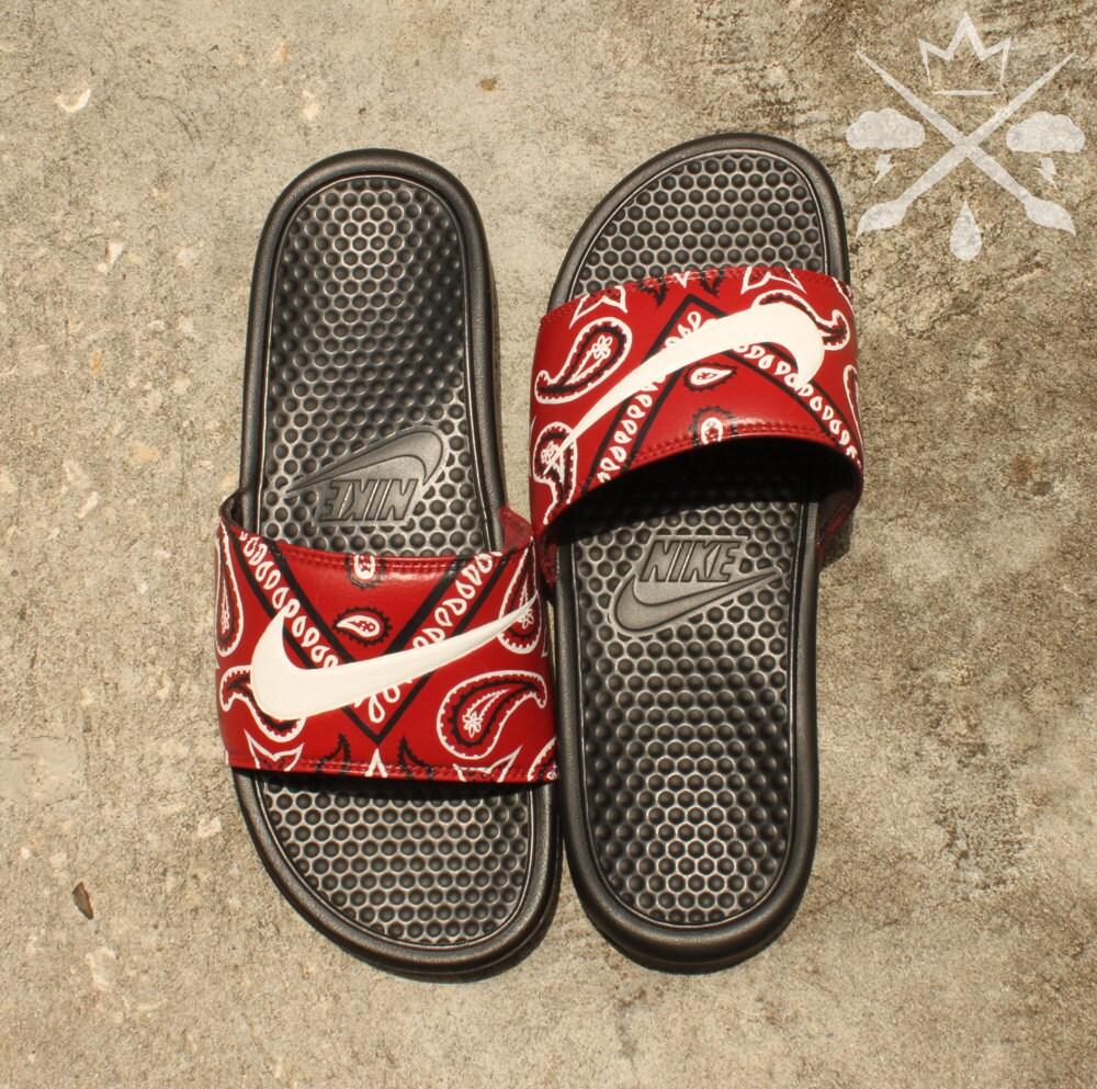 Lovely Nike Custom Red Bandana Benassi Swoosh Slide Sandals Flip flops  Men s DS11 2bd045e81