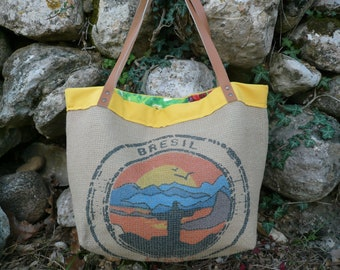 Jumbo Tote Bag, Tote Bag, Recycled Coffee Bag, Brazil