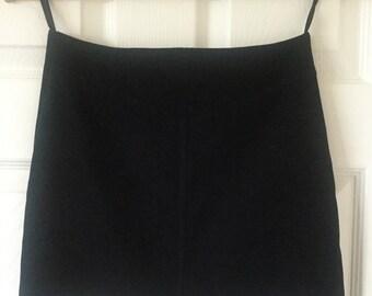 Vintage Black Velveteen Mini Skirt