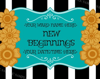"""Young Women """"New Beginnings"""" YW young women Invitations or Handouts 4x6 digital printable in teal green and yellow black white stripes"""