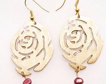 Roses Brass Earrings