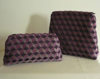 Gusset purples geometric pocketed duo