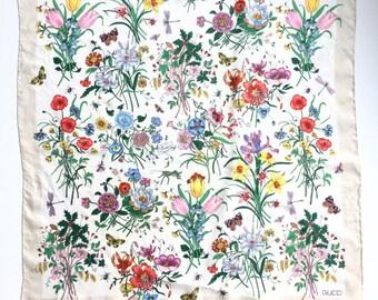 "Vintage Gucci ""Flora"" white and multi-color floral and butterfly designer silk scarf, Designer Silk Scarf, Gucci Silk Scarf"