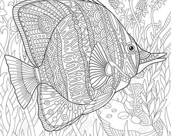 Butterfly Fish 2 Coloring Pages Animal Book For Adults Instant Download Print