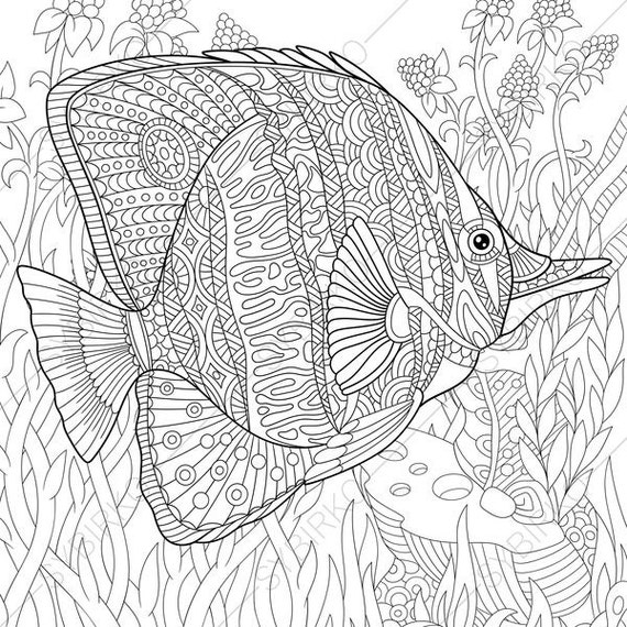 Ocean World. Butterfly Fish. 2 Coloring Pages. Animal coloring