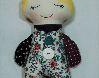 Handmade doll, cloth doll, Darling Scrappy Doll, girl doll, baby doll, fabric doll