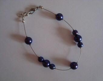 Blue fantasy with beads bracelet