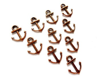 10 Antique Copper Anchor Charms - 21-5-2