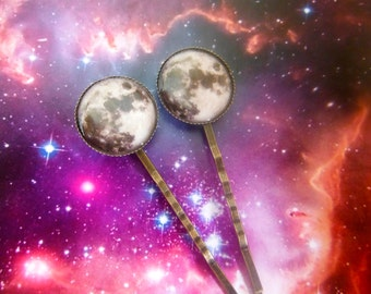 2x Moon Hair Clips Bobby Pins Planets Galaxy