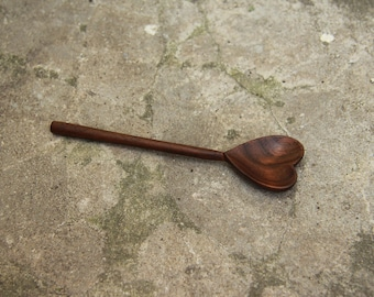Black walnut spoon in the form of heart