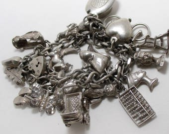 Vintage Loaded Sterling Silver Charm Bracelet