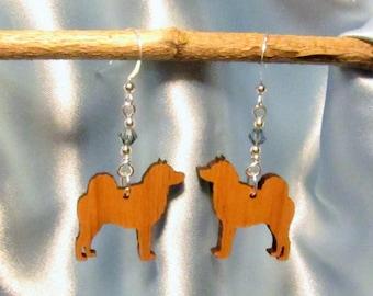 Norwegian Elkhound Laser Cut Earrings with Swarovski Crystal