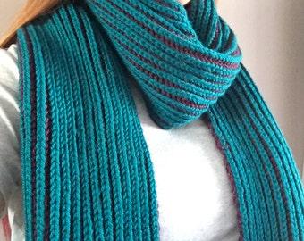 Teal & Purple Brioche Knit Scarf
