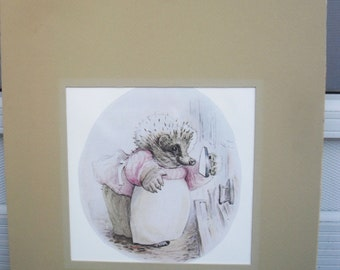 Mrs. Tiggy Winkle with Iron in Hand-Matted Art
