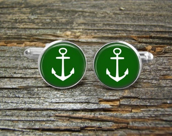 Anchor White On Green Nautical cufflinks-Wedding-Jewelry Box-Silver-Keepsake-Man gift-Graduation-Men-History-Nautical-Sailing-Ocean-Sailor
