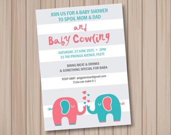 Baby Shower Invitation Printable - Elephants