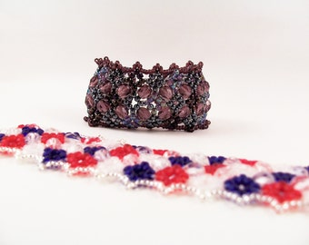 Tiny Diamond Bracelet Pattern, Beading Tutorial in PDF
