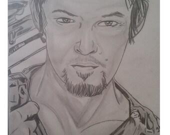 Daryl Dixon aus the Walking Dead Bleistiftzeichnung