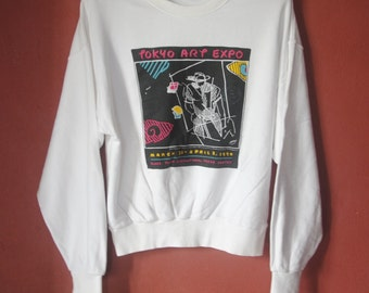 Vintage PETER MAX 1990 Tokyo Art Expo sweatshirt Medium / 1990s Neo Max Art  jumper / nice design / Pop art artist 90s Pullover