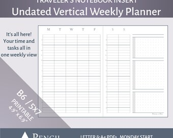 Undated B6 Vertical Weekly Planner Insert (Design B)  - Printable Travelers Notebook Refill