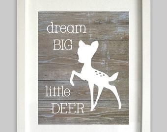 Deer Nursery Art // Dream Big Little Deer // Woodland Nursery // Oh Deer // Little Fawn // Baby Deer // Woodland Art // Woodland Baby Shower