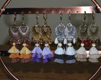 drop earrings with multicolor tassels