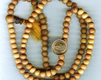Genuine Fragrant Sandalwood Mala Prayer Bead Necklace 8mm