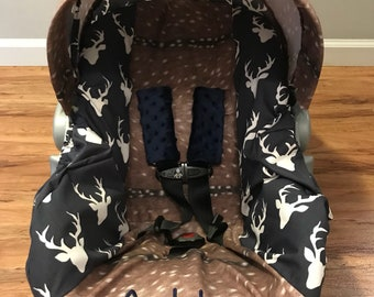 Faux deer hide skin & Twilight STAG buck deer head sillouett baby infant carseat cover with free monogram and minky strap covers