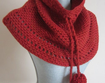 Cowl, Neckwarmer, Cape, Crocheted, Cayenne Pepper Shades, All Merino Wool, Very Soft, Simple Style, Ready To Ship