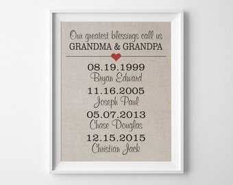Our Greatest Blessings Call Us GRANDMA & GRANDPA | Linen Print | Grandchild Grandparents Print | Accommodates up to 10 names and birth dates