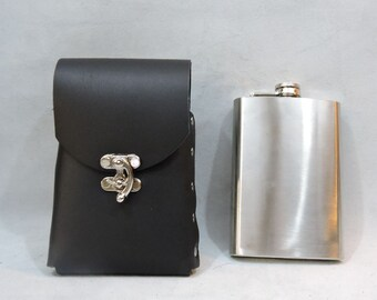 Instock 8oz Hip Flask or Cell Phone Leather Belt Pouch