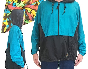 Vintage 80s/90s Ocean Equipment Hooded Half Zip Windbreaker — M