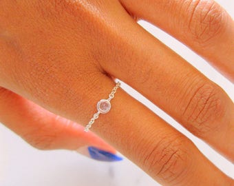 Sterling Silver Solitaire Ring, Cubic Zirconia, bridesmaid gift, diamond ring, dainty sterling silver ring, silver chain ring, delicate ring