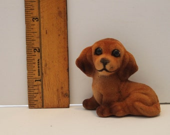 Vintage Flocked Weenie Dog-Doxie-Dachshund -Puppy-Weiner Dog