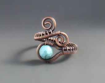 Turquoise blue stone ring, rustic look copper jewelry, blue howlite jewelry, seventh anniversary gift wor women