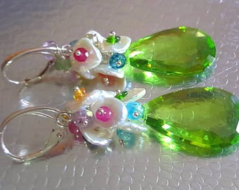 NEW! Peridot Quartz with Keshi Pearls and Colorful Sapphire Gemstone Cluster Earrings On Sterling Silver Leverbacks August Birthstone
