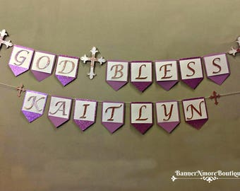 Baptism Christening Communion or Confirmation Glitter Banner