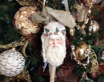 Vintage Shabby Chic Santa Christmas Tree Ornament By Katherine's