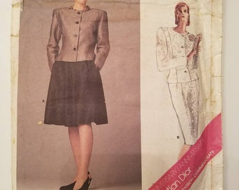 Vintage Vogue Christian Dior Commemorative Pattern 1919 Paris Original Misses Jacket & Skirt, Princess Seams, Straight, Flared Skirt Size 10
