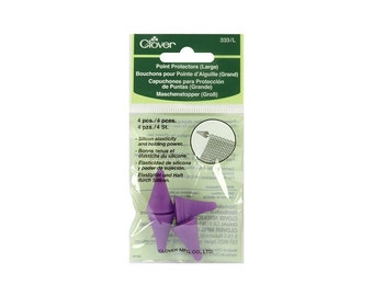 4 Large Clover Point Protectors. Fits Needle sizes 5 - 10.5, Purple Knitting Needle Protectors, Purple Silicon, Large Tip Protectors #333/L