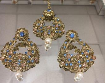 Gold and blue flowery earring tikka set