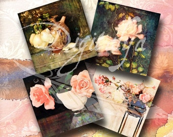 LIFE OF ROSES - Digital Collage Sheet - Squares 4 inch for cards, coasters & 14 squares 1 inch - Buy 3 Get 1 Extra Free - Instant Download