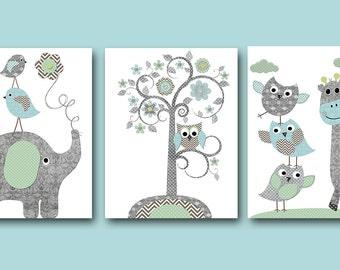 INSTANT DOWNLOAD Nursery Art Printable Art Nursery Digital Download Children Art Baby Boy Nursery Digital Download Art Set of 3 8x10 11X14