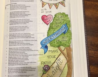 Bible Journaling Verse Art - Margin Art - Bookmark featuring Proverbs 3:5-6, Trust in the Lord.